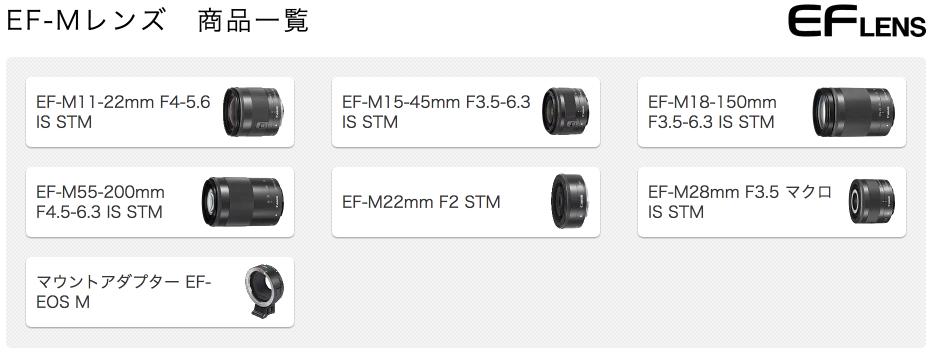 キヤノン:一眼レフカメラ/ミラーレスカメラ用交換レンズ|EF-Mレンズ 商品一覧 2017-09-28 12-16-17